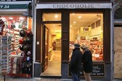 Czekoladowy sklep, Belgia Fotografia Royalty Free