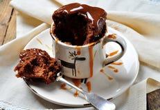 Czekoladowy tort gotujący w filiżance w mikrofali dla 2 minut Wieśniaka styl Selekcyjna ostrość obrazy stock