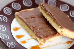 Czekoladowy tort na talerzu Obraz Stock