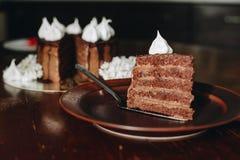 Czekoladowy tort na talerzu z tortem na tle Fotografia Stock