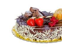 Czekoladowy tort odizolowywający obraz stock