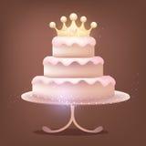 Czekoladowy tort z błyszczącą koroną royalty ilustracja