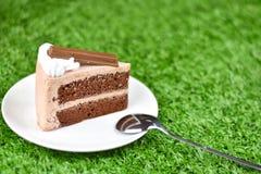 Czekoladowy tort z bat śmietanką i czekolady opłatkową polewą zdjęcia stock