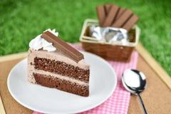 Czekoladowy tort z bat śmietanką i czekolady opłatkową polewą zdjęcia royalty free