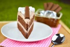 Czekoladowy tort z bat śmietanką i czekolady opłatkową polewą na gr zdjęcie stock