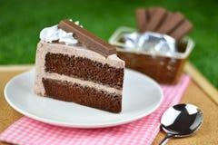 Czekoladowy tort z bat śmietanką i czekolady opłatkową polewą na gr zdjęcie royalty free