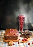 Czekoladowy tort z cranberries Zdjęcie Royalty Free