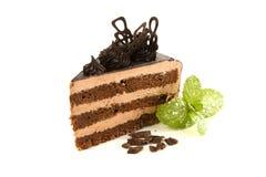 Czekoladowy tort z mennicą, bielu talerz Fotografia Stock