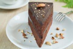 Czekoladowy tort z migdałem Fotografia Stock