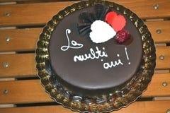 Czekoladowy tort z sercami obrazy royalty free