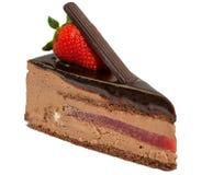 Czekoladowy tort z truskawką Obraz Royalty Free