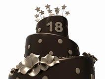 Czekoladowy urodzinowy tort - 18 rok Obraz Royalty Free
