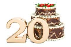 Czekoladowy Urodzinowy tort z złotą liczbą 20, 3D rendering Zdjęcie Royalty Free