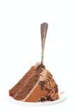 Czekoladowy warstwa tort z rozwidleniem fotografia stock