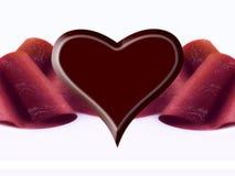 czekoladowy wstążkę serca Obrazy Stock