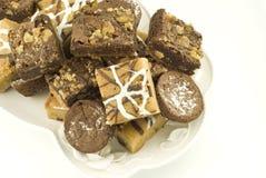czekoladowych deserowych talerzy asortowani bary Fotografia Royalty Free