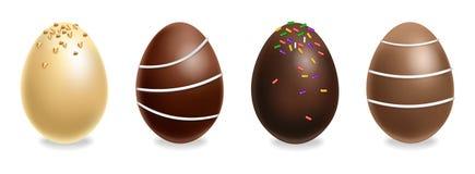 Czekoladowych jajek ustawiający wektor realistyczny zmroku czekoladowy mleko 3d wyszczególniać plakata lub etykietki kolekcje royalty ilustracja