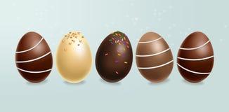 Czekoladowych jajek ustawiaj?cy wektor realistyczny zmroku czekoladowy mleko 3d wyszczeg?lnia? plakata lub etykietki kolekcje ilustracji