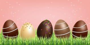 Czekoladowych jajek ustawiaj?cy wektor realistyczny zmroku czekoladowy mleko 3d wyszczeg?lnia? plakata lub etykietki kolekcje ilustracja wektor
