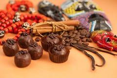 Czekoladowych trufli, cynamonu, wanilii i afrykanina atrybuty, Obraz Stock