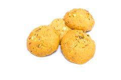 Czekoladowych układów scalonych ciastka odizolowywający na bielu Fotografia Stock