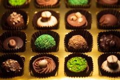 czekolady Asortyment świetne zmroku, brown i białych czekolady, Obraz Stock