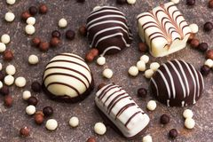 Czekolady i czekoladowe piłki Obraz Royalty Free