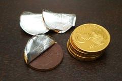 Czekolady moneta Fotografia Stock
