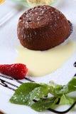 Czekolady tort z ciemną czekoladą i waniliowym lodem zdjęcia royalty free