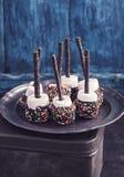 Czekolady zakrywający marshmallows na błękicie obraz royalty free
