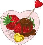 Czekolady Zakrywający serca i truskawki ilustracja wektor