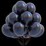 Czerń balonów wszystkiego najlepszego z okazji urodzin przyjęcia dekoraci zmrok glansowany Obrazy Stock