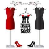 Czerń, czerwień buty i suknia i ilustracja wektor