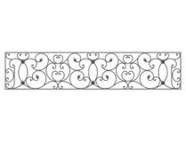Czerń forged dekoracyjną kratownicę odizolowywającą na białym tle Zdjęcia Stock
