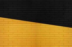 Czerń i żółta kolor ściany z cegieł tekstura dla graficznych tło wizerunków zdjęcie royalty free