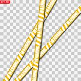 Czerń i żółte ostrożność linie odizolowywający ilustracja wektor