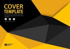 Czerń i Żółty okładkowego szablonu poligonalny tło, Horyzontalny układ, Biznesowa broszurki ulotka, sprawozdanie roczne, książka ilustracji