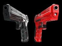 Czerń i czerwone błyszczące nowe semi automatyczne krócicy ilustracja wektor