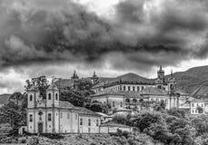 Czerń i witka widok Ouro Preto zdjęcie royalty free