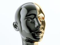 Czerń i złocista ludzka głowa oddzielaliśmy linią jako symbol równowaga ilustracja wektor