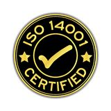 Czerń 14001 i złocisty koloru ISO poświadczający z oceny ikony round st Obrazy Stock