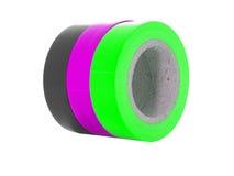 Czerń, purpura, zielone izolaci taśmy zwitki odizolowywać na białym tle Zdjęcie Royalty Free