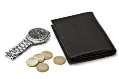 czerń ukuwać nazwę portfla zegarek obraz stock