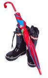 czerń butów dzieci podeszczowy parasol Zdjęcie Royalty Free