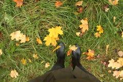 Czerń buty na trawy tle Zdjęcia Stock