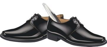 Czerń buty z shoehorn Zdjęcia Stock