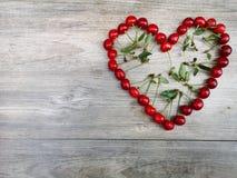 Czereśniowego lata miłości owocowy serce fotografia stock