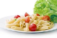 czereśniowi makaronu talerza pomidory biały Zdjęcie Stock