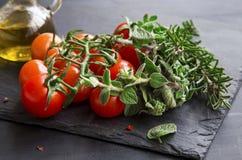 Czereśniowi pomidory z świeżymi oregano i rozmarynów ziele Zdjęcia Stock