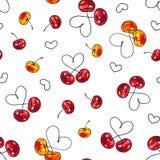 Czereśniowy cukierki na białym tle Dla projekta bezszwowy wzór Animacj ilustracje handwork Fotografia Stock